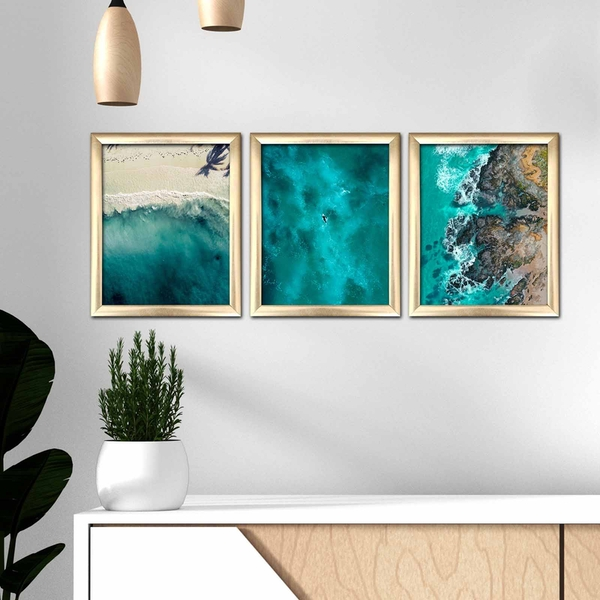 3ACT-004 Multicolor Decorative Framed MDF Painting (3 Pieces)