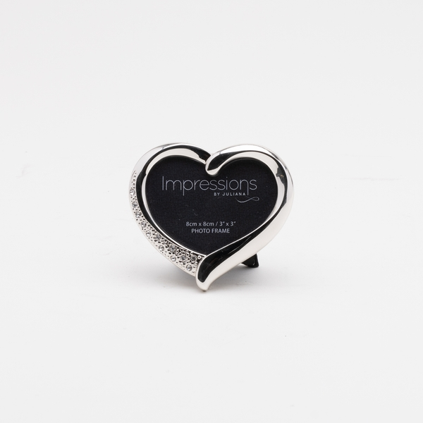 """3"""" x 3"""" - Silver Plated Heart Shaped Frame with Diamante"""