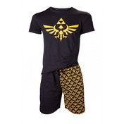 Nintendo Legend of Zelda Mens Shortama Black X-Large Nightwear Set