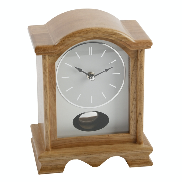 Wooden Oak Pendulum Mantel Clock