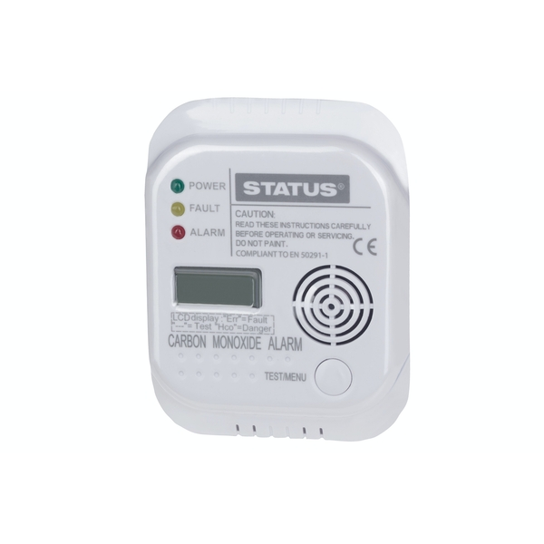 Status Carbon Monoxide Alarm With Batteries Included - 85dB Alarm - LCD Display