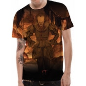 IT - Flames Sublimated Men's Large T-Shirt - Black