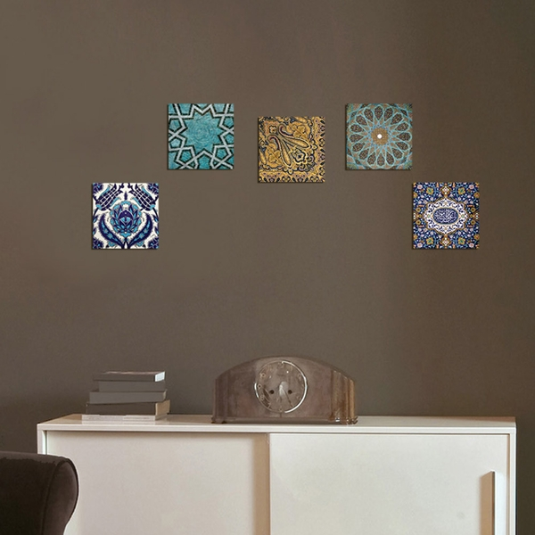 UTB33 Blue Green Yellow Decorative MDF Painting (5 Pieces)