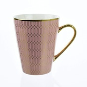 Conical Mug with Geometric Design Pink and Gold