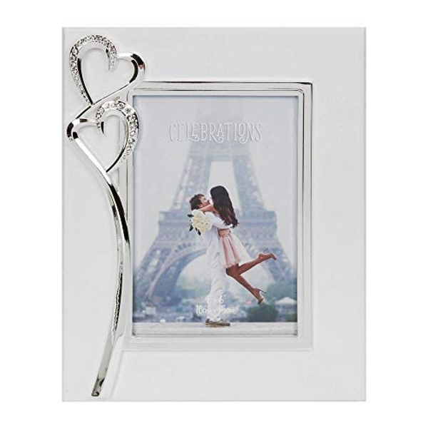 """4"""" x 6"""" - Silver Plated & Crystal Double Heart Photo Frame"""