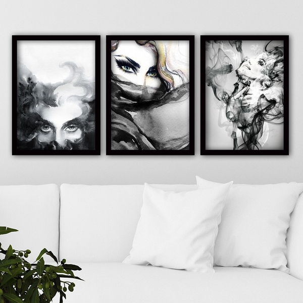 3SC44 Multicolor Decorative Framed Painting (3 Pieces)