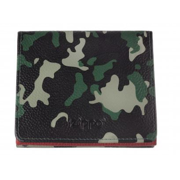 Zippo Green Camouflage Leather Douoble Sided Wallet (10.2 x 9.3 x 2.5cm)