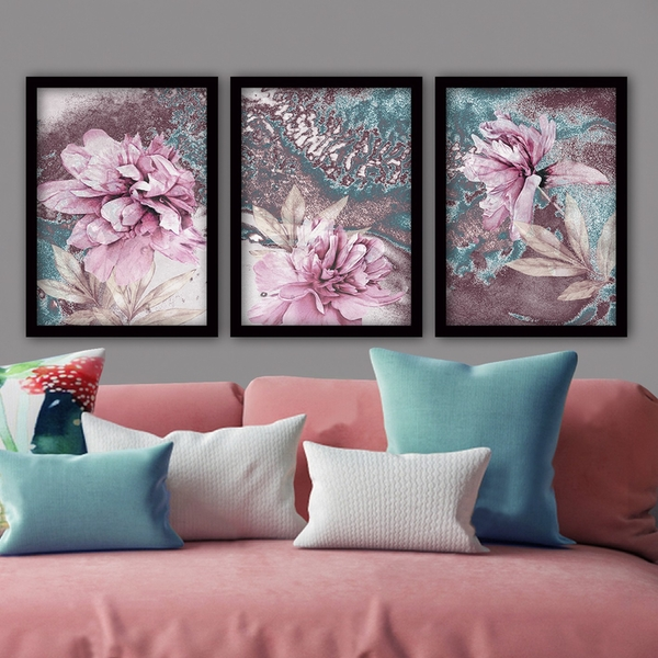 3SC72 Multicolor Decorative Framed Painting (3 Pieces)