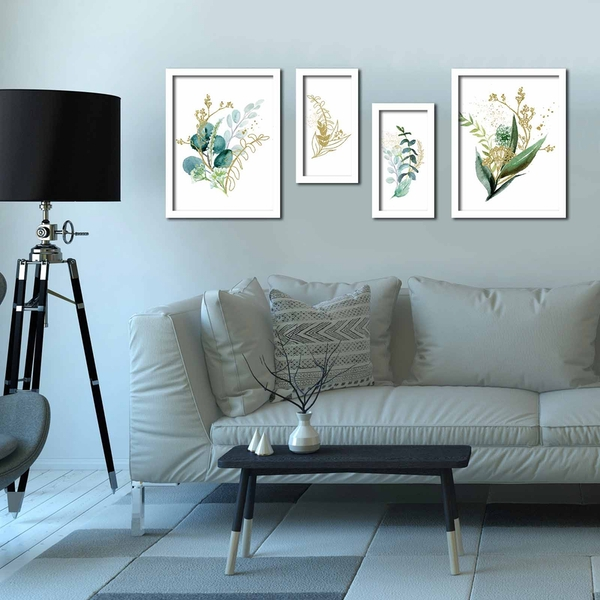 4P3040BCT008 Multicolor Decorative Framed MDF Painting (4 Pieces)