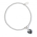 Black Diamond Swarovski Crystal Heart with Sterling Silver Ball Bead Bracelet