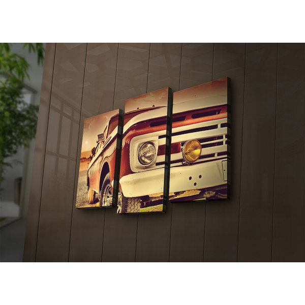 3PAT?ACT-27 Multicolor Decorative Led Lighted Canvas Painting (3 Pieces)