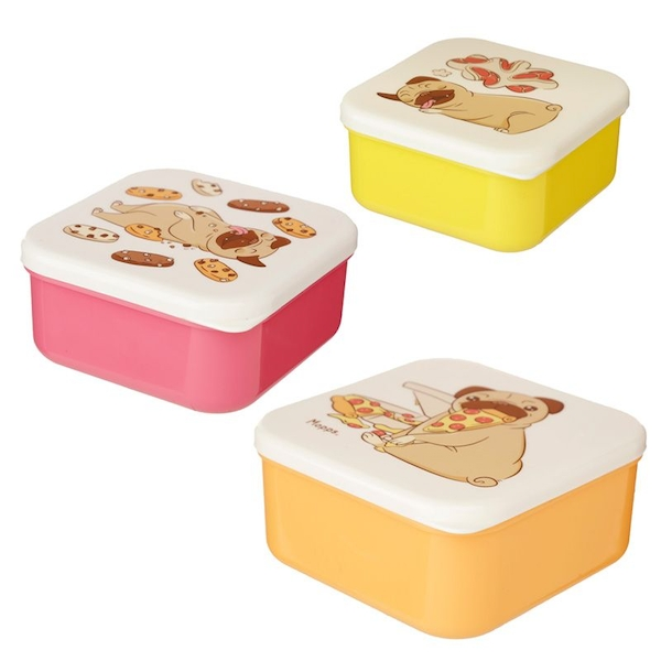 Set of 3 Lunch Boxes - Mopps Pug