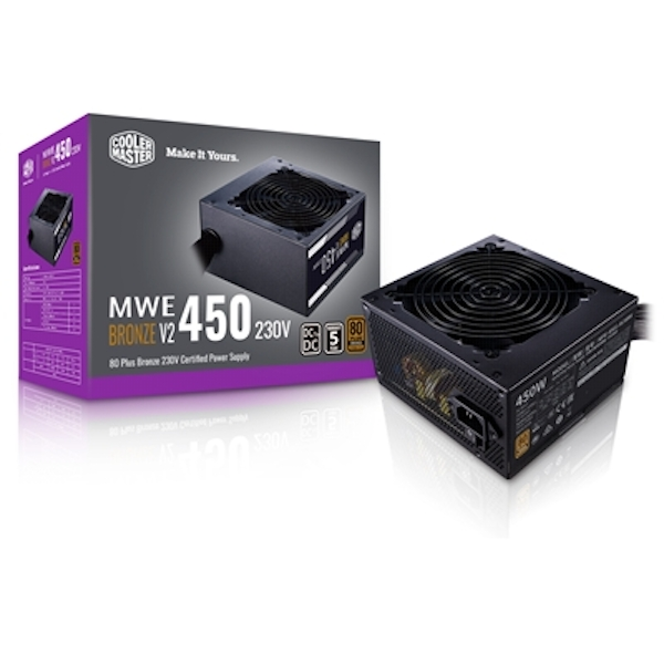 Cooler Master MWE Bronze V2 450W 230V 120mm HDB Fan 80 PLUS Bronze PSU UK Plug