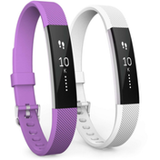 Yousave Fitbit Alta / Alta HR Strap 2-Pack Small - Violet/White