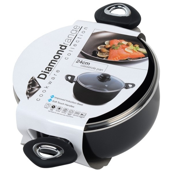 Pendeford Diamond collection Non Stick Casserole Pot & Lid 24cm