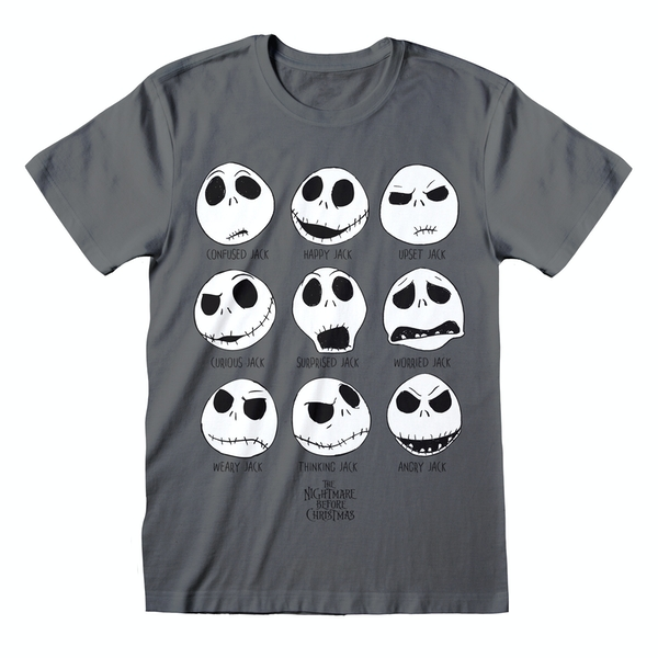 Nightmare Before Christmas - Many Faces Unisex X-Large T-Shirt - Charcoal