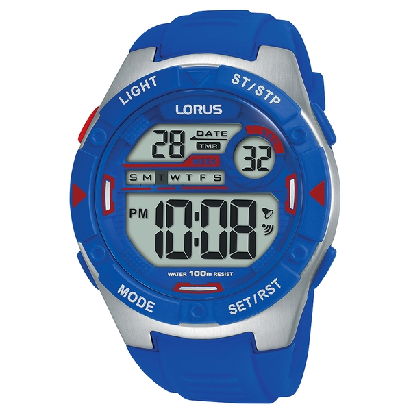 Lorus R2301NX9 Mens Digital Watch with Electric Blue Soft Silicone Strap
