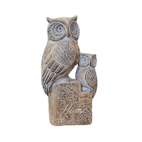 Ornate Carved Wood Finish Owl Ornament - HOME
