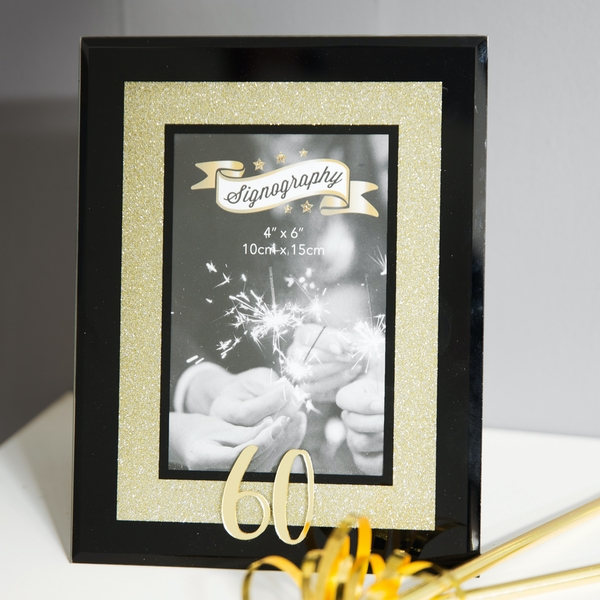 Signography Gold Glitter 60 Glass Frame | 4x6