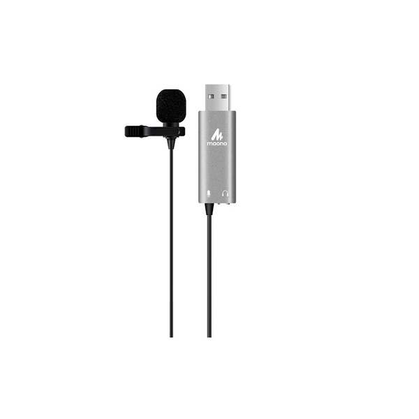 Maono Clip On Lapel Microphone Omnidirectional USB 3.5mm Female Socket 2m Cable