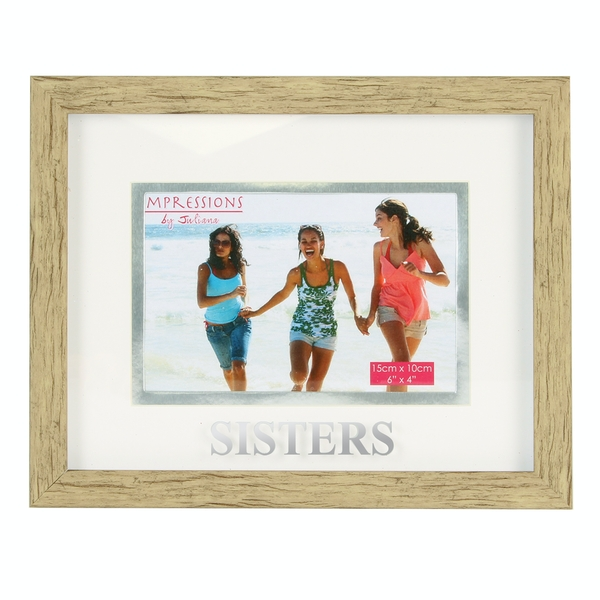 """6"""" x 4"""" - Natural Wood Effect Frame - Sisters"""