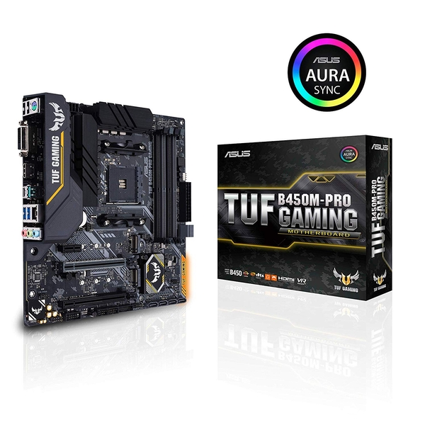 Asus TUF B450M-PRO GAMING, AMD B450, AM4, Micro ATX, 4 DDR4, XFire, DVI, HDMI, M.2, RGB Lighting