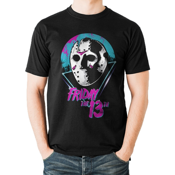 Friday The 13th - Unisex Small 80's Mask T-Shirt (Black)