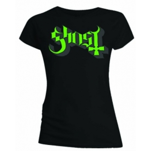 Ghost Green Grey Keyline Logo Skinny Ladies T Shirt: Large