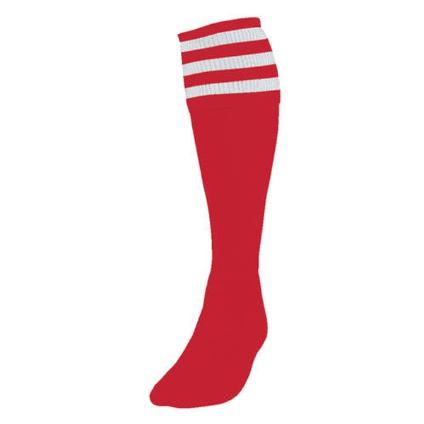 Precision 3 Stripe Football Socks Red/White - UK Size 3-6