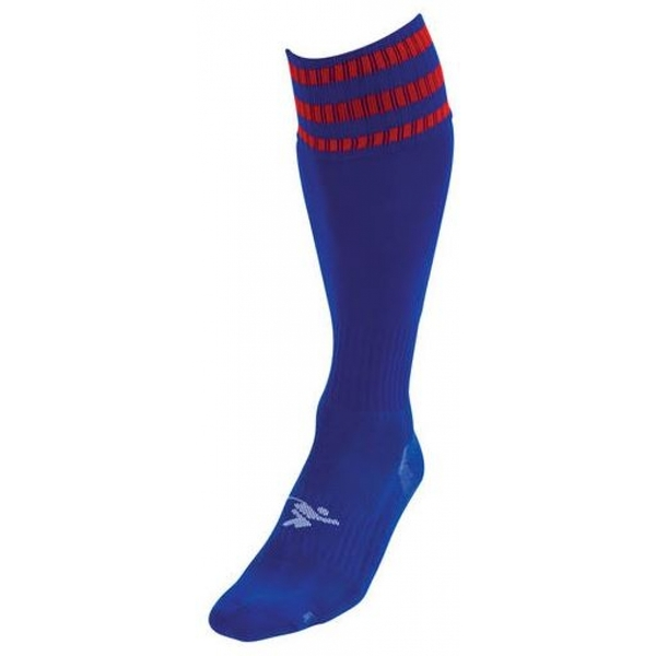 PT 3 Stripe Pro Football Socks Boys Royal/Red
