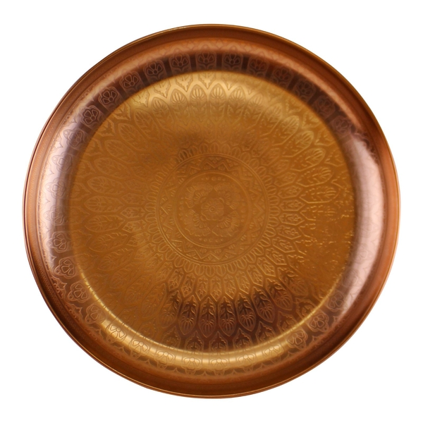 Large Decorative Copper Metal Tray With Etched Design
