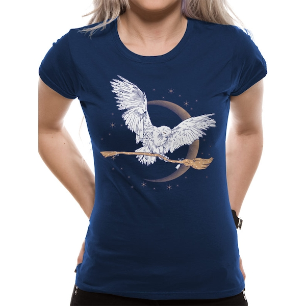 Harry Potter - Hedwig Broom Women's Large T-Shirt - Blue