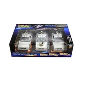 Ex-Display Back to the Future Movie Trilogy DeLorean 1981 Time Machine Die-Cast 1:24 Scale Vehicle 3-Pack Used - Like New