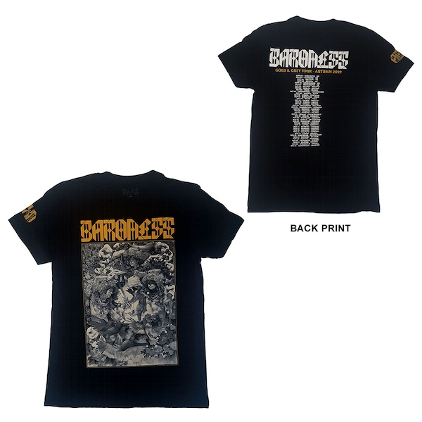Baroness - Gold & Grey Dateback Unisex Small T-Shirt - Black