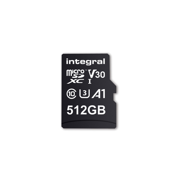 Image of Integral 512GB Micro SD Card MicroSDXC UHS-1 U1 Cl10 V30 A1 Up To 100Mbs Read 80Mbs Write
