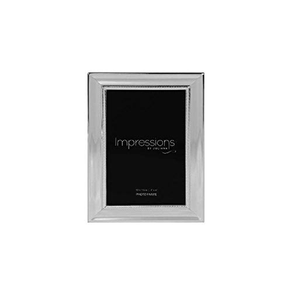 """4"""" x 6"""" - IMPRESSIONS? Silver Plated Frame with Beaded Edge"""