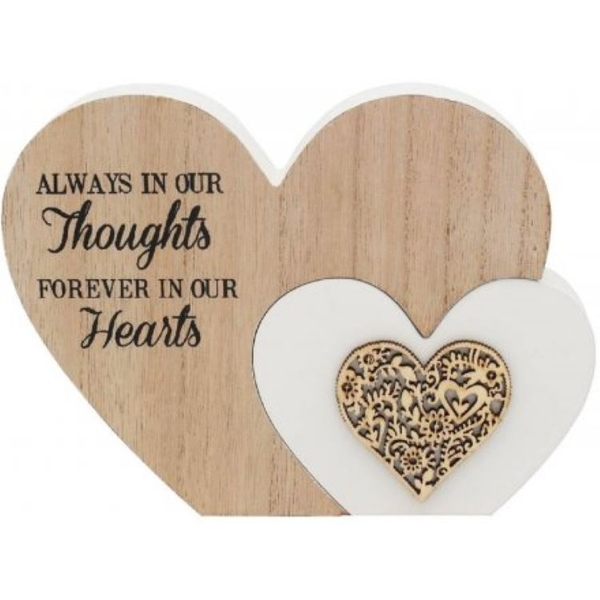 Always In Our Thoughts' Natural Toned Heart Plaque