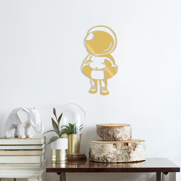 Baby Astronaut - Gold Gold Decorative Metal Wall Accessory