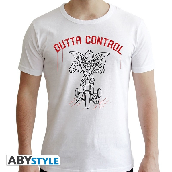 """Gremlins - """"Outta Control"""" Mens XXL SS New Fit T-Shirt - White"""