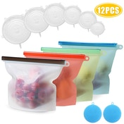 Set of 6 Reusable Silicone Food Bags & 6 Covers