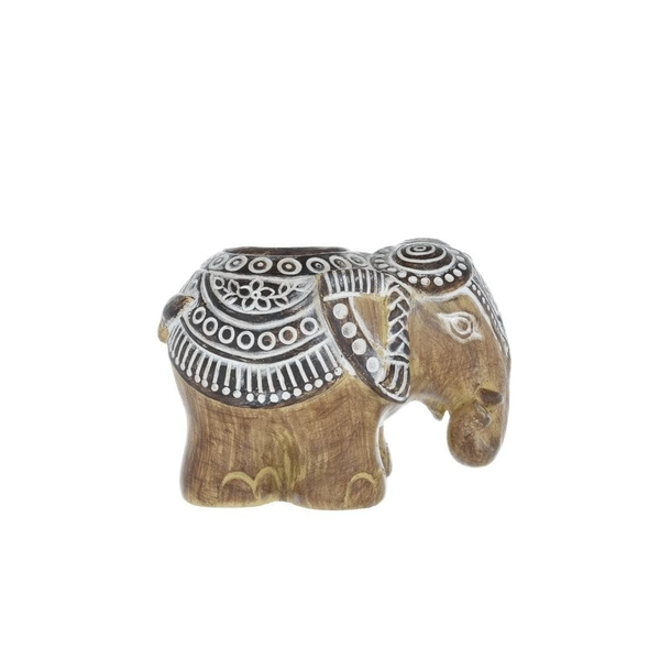 Small Elephant Candle Holder Brown 12cm