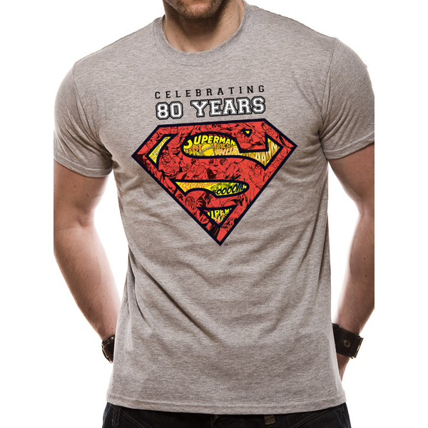 Superman - Celebrating 80 Years Men's XX-Large T-Shirt - Grey