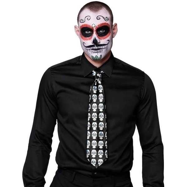 Halloween Skull Tie (Black/White)