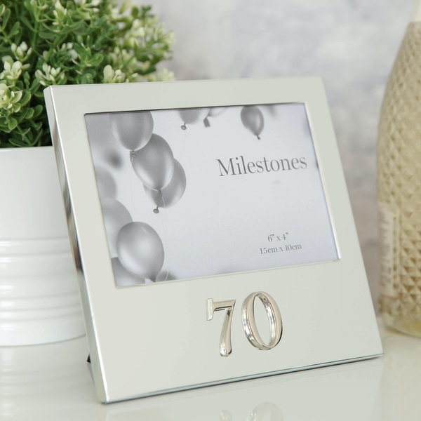 """6"""" x 4"""" - Milestones Birthday Frame with 3D Number - 70"""