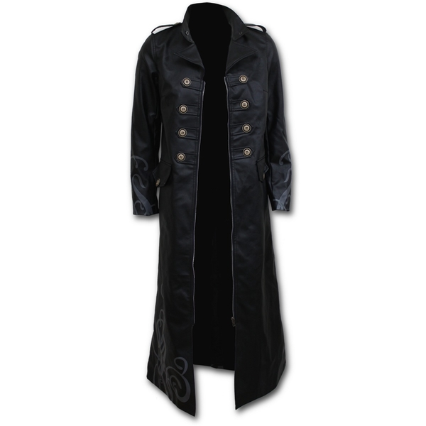 Vampire's Kiss Women's X-Large Gothic Pu-Leather Corset Trench Coat - Black