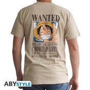 One Piece - Wanted Luffy Men's Large T-Shirt - Beige