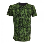 Marvel Comics Incredible Hulk Classic Green Comic Strip Large T-Shirt