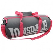 Lonsdale Barrel Bag Charcoal & Pink