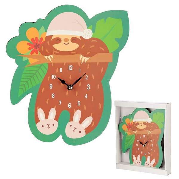 Sleepy Sloth Shaped Wall Clock