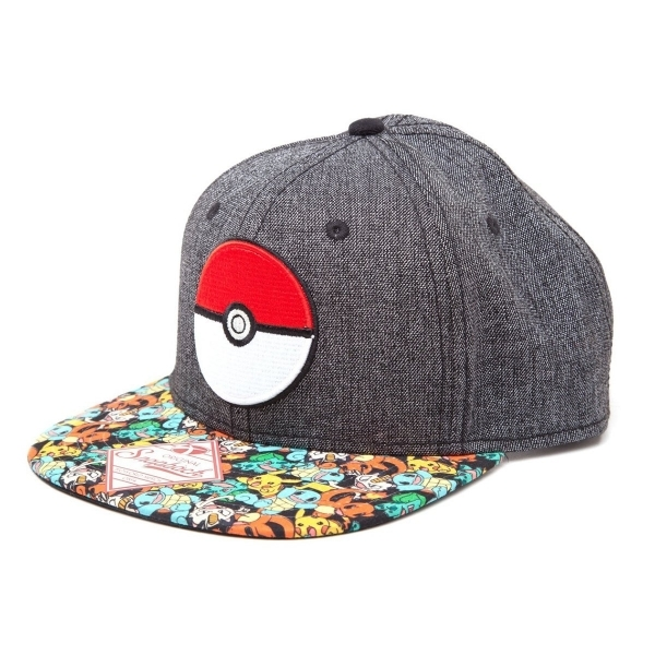 Pokemon 3D PokeBall & Pokemon Snapback Grey Baseball Cap